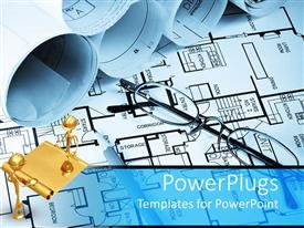 Powerpoint template a 3d house on a white paper with a house blue slide set having pair of reading glasses on a building house plan malvernweather Images