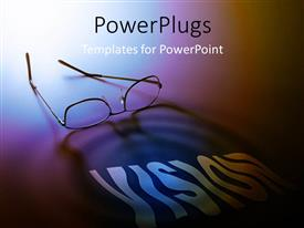 Presentation theme enhanced with a pair of reading glasses with a text that spells out the word