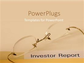 Presentation theme with pair of transparent reading glasses on a peach colored background