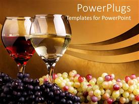 PPT layouts featuring pair of wine glass filled with wine and bunch of white and black grapes