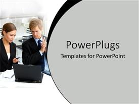 Presentation theme featuring a pair working together with a laptop