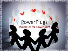 Colorful slide deck having paper people with red heart symbol hold hands round light glow