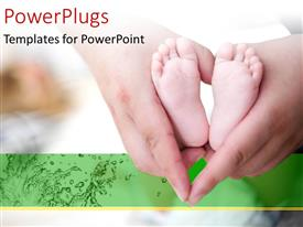 Slide deck having parent holding baby's foot as love heart shape with green color