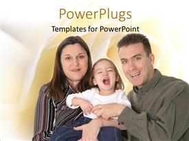 PPT layouts enhanced with parents with naughty baby with smooth yellow shades