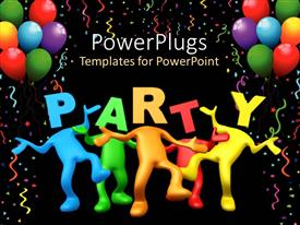 Theme featuring party celebration balloons birthday  dancing black background