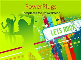 Disco powerpoint templates ppt themes with disco backgrounds theme enhanced with party depiction with silhouette of dancers and signpost reading lets rock template size toneelgroepblik Images