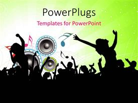 Beautiful PPT layouts with party depiction with silhouette of people, music symbols and speakers