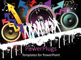 Elegant presentation theme enhanced with party theme , with silhouettes dancing with speakers