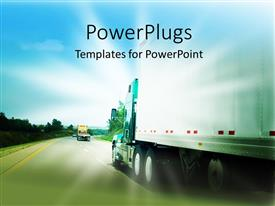 Presentation theme consisting of passing a transportation truck on a highway