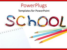 Theme having pencils and crayons on notepad with colorful text SCHOOL