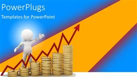PPT theme enhanced with a 3D character climbing an ascending stack of coins