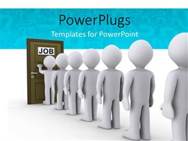 PPT layouts enhanced with people in a line waiting for job interview