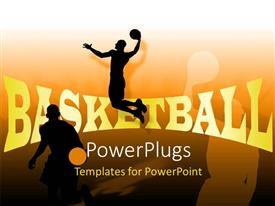 Beautiful PPT theme with people playing basketball with their shadows in background