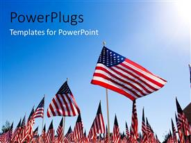 Elegant slide deck enhanced with people in a rally with a number of American flags