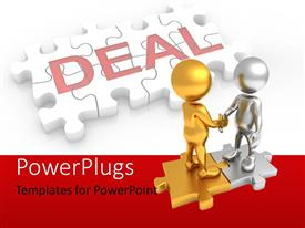 PPT theme consisting of people standing on puzzle and shaking hands showing deal