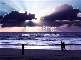 PPT theme consisting of people walking on beach with sunset in cloudy sky