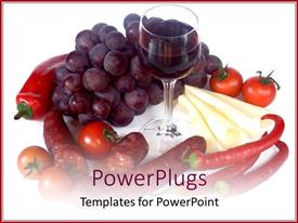 Slides having pepper, tomatoes, vine and wine glass on white background