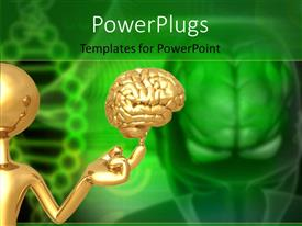 Colorful PPT theme having a person with a brain and a greenish background
