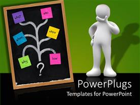 PPT theme having a person with a brainstorming chart including different steps