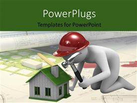 PPT theme featuring a person constructing the house with a hammer
