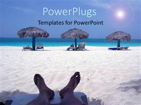 Amazing PPT theme consisting of a person enjoying on the beach with sea in the background