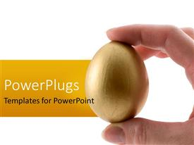 PPT theme with person holding golden egg between fingers in white background