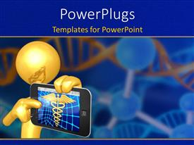Beautiful presentation theme with a person holding the medical sign in the screen with bluish background