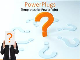 Beautiful PPT theme with a person holding the question mark