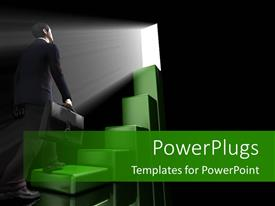 Elegant PPT layouts enhanced with a person looking through the space with blackish background