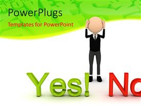 PPT theme enhanced with a 3D character standing n front of