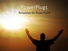 PPT theme with a person praying to the Lord with sun in the background