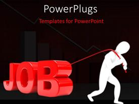PPT layouts with person pulls the 3D word in red with black color
