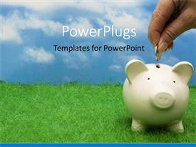 Beautiful PPT layouts with a person putting a coin in the piggy bank with clouds in the background