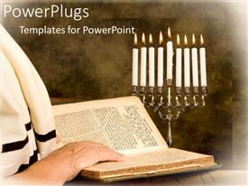 PPT theme featuring a person reciting the torah with candles in the background