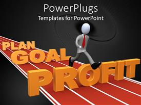 Elegant PPT theme enhanced with a person running on a track with plan, goal and profit as hurdles