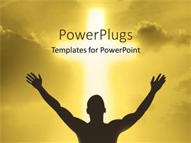 Beautiful PPT layouts with a person showing devotion to God