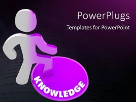 Colorful presentation design having person stands on Knowledge button and his color transforms to symbolize his evolution with black color