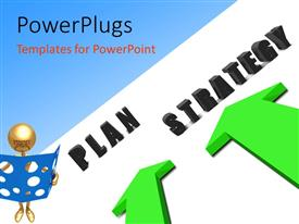 PPT layouts with a person with two arrows towards business words Plan and Strategy, blue color