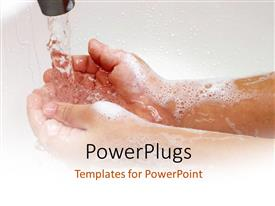 PPT theme consisting of a person washing his hands along with place for text