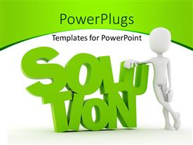 PPT layouts enhanced with a person with the word solution and white background