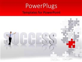 Colorful PPT theme having a person with the word success and puzzle pieces in background