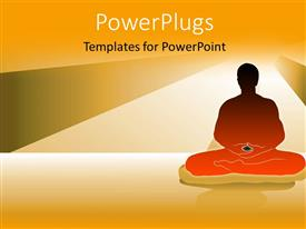 Theme with a person in a yoga hape with lights in the background