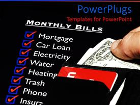 PPT theme enhanced with personal finance theme with monthly bills, wallet with cash and credit cards