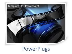 PPT theme consisting of photography with film and SLR camera lens in blue, white, grey, black
