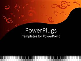 Presentation theme with piano keys with music symbols on black and orange background