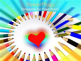 Colorful presentation theme having the picture of a heart with a number of color pencils surrounding it