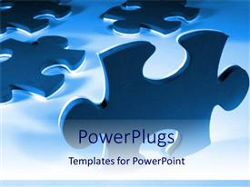Theme enhanced with pieces of puzzle blue background problems and solutions success business
