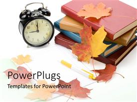 Audience pleasing PPT theme featuring pile of books, alarm clock and autumn leaves on white