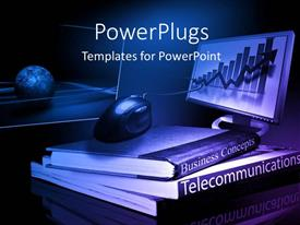 Theme with pile of business and telecommunication books with computer monitor