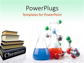Chemistry powerpoint templates ppt themes with chemistry backgrounds slide set consisting of pile of chemistry textbooks with colored solutions in beaker and molecular chain template size toneelgroepblik Images